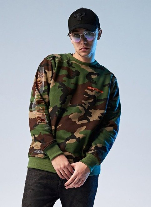 BLUZA CREWNECK RIDE THE WAVE ONE (CAMO/ORANGE)