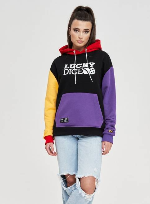 BLUZA HOODIE LOGO GIRL (BLACK/VIOLET/YELLOW)